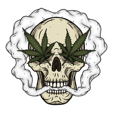 Skull. Skull with marijuana leaves. Rastaman skull with cannabis leafs and joint.