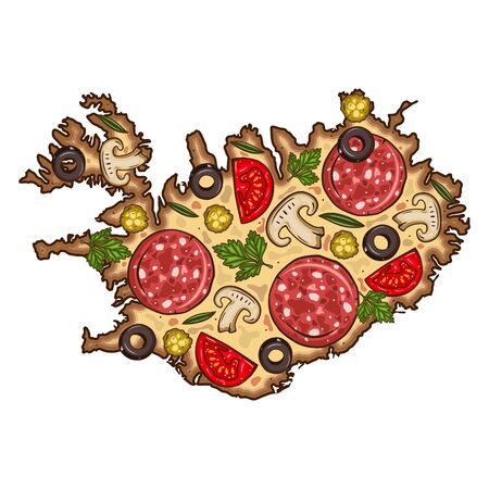 Pizza. Map of Iceland in the shape of pizza. Iceland map