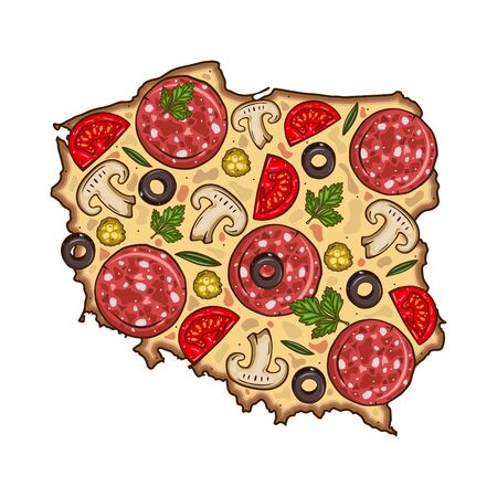 Pizza. Map of Germany in the shape of pizza. Germany map.