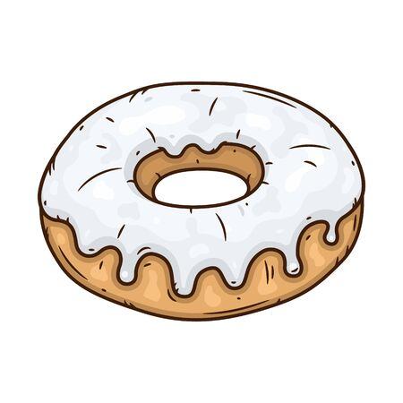 Donut with white glaze. Donut with white icing. Ilustração