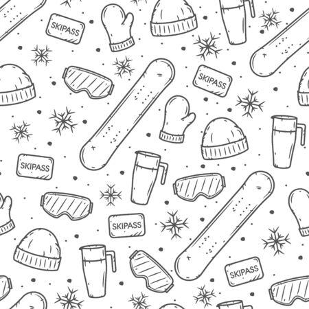 Snowboarding seamless pattern. Winter sport seamless pattern. Extreme sport backdrop Ilustração