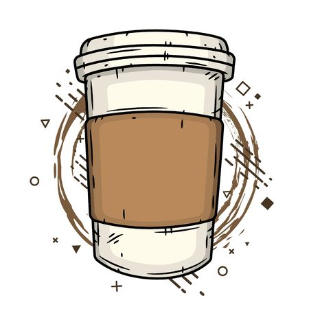 Coffee cup on creative background. Vector illustration. Ilustração