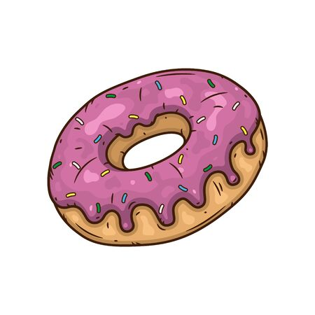 Donut with pink glaze. Donut with pink icing.