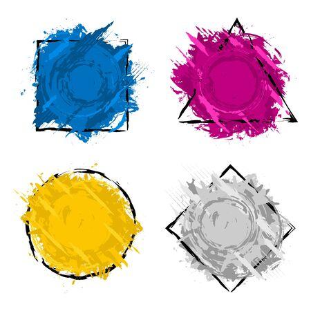 Set of four grunge splash banners. Vector splatter labels with space for text. Grunge label with geometric figures. Paint splash. Vector colorful paint splashes. Ilustração