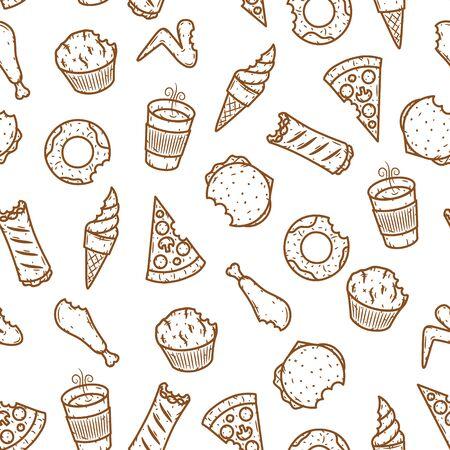 Seamless fast food pattern. Vector fast food pattern.