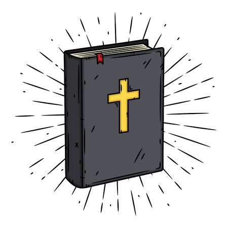 Bible book. Hand drawn vector illustration with Bible book and sunburst.