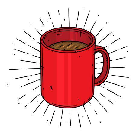 Mug. Hand drawn vector illustration with mug and sunburst.