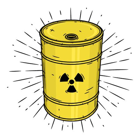Barrel with radioactive waste. Hand drawn vector illustration with barrel and sunburst.