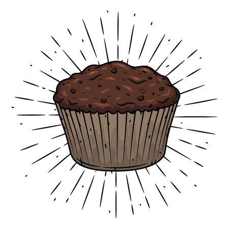 Muffin. Hand drawn vector illustration with muffin and sunburst. Used for poster, banner, web, t-shirt print, bag print, badges, flyer,  design and more. Ilustração