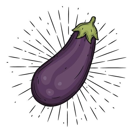 Eggplant. Hand drawn vector illustration with eggplant and divergent rays. Used for poster, banner, web, t-shirt print, bag print, badges, flyer,  design and more.