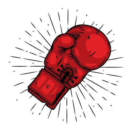Boxing glove. Hand drawn vector illustration with boxing glove and sunburst. Used for poster, banner, web, t-shirt print, bag print, badges, flyer,  design and more.