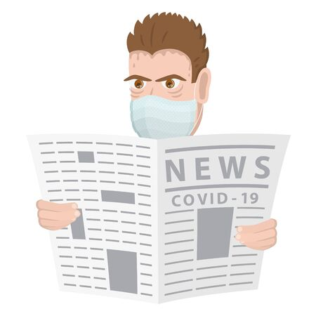 Male character reading a newspaper. Vector illustration.