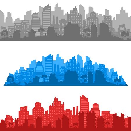 City landscape. City silhouette with windows. Vector Illustration Ilustração