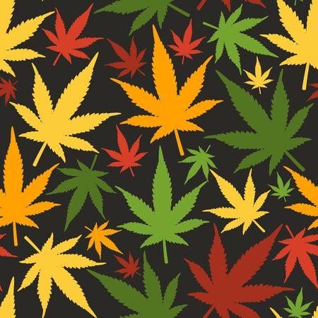 Marijuana leaves seamless vector pattern. Cannabis seamless pattern. Pattern with marijuana leaf.