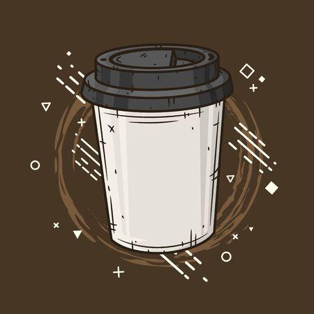 Coffee cup on creative background. Ilustração