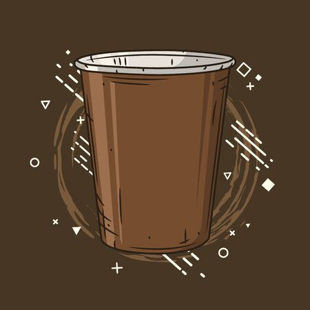 Coffee cup on creative background. 向量圖像