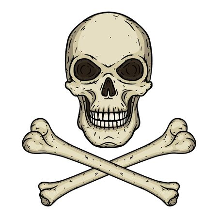 Skull with two crossed bones isolated on white background. Vector illustration in hand drawn style.