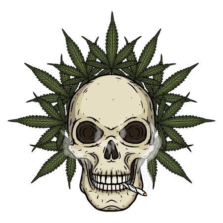 Skull. Skull with marijuana leaves. Rastaman skull with cannabis leafs and spliff.