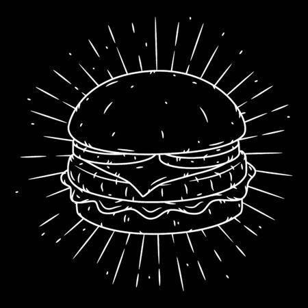 Hamburger. Hand drawn illustration with hamburger and sunburst.