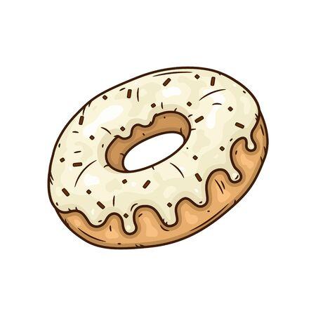 Donut with vanilla glaze. Donut with vanilla icing.