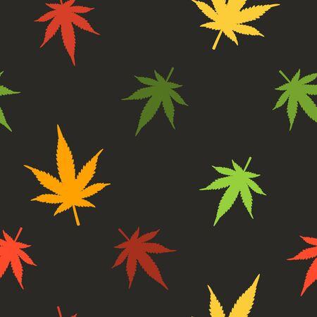 Marijuana leaves seamless pattern. Cannabis seamless pattern. Pattern with marijuana leaf Ilustração