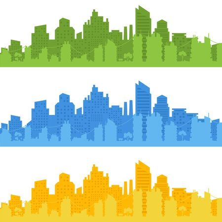 City landscape. City silhouette with windows.