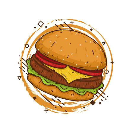 Hamburger. Vector illustration isolated on a white background.