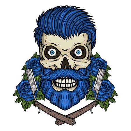 Skull. Hipster skull with barber blade. Illustration for barbershop.