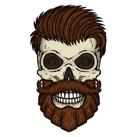 Skull. Bearded skull. Vector illustration of human skull with beard and mustache.