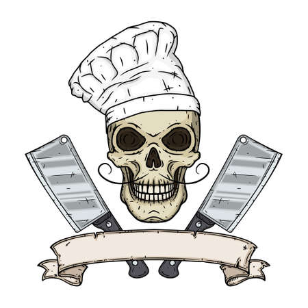 Skull in toque with two cleavers and vintage scroll. Cartoon skull in hand drawn style. Chef skull.