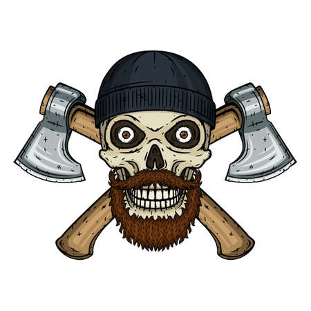 Skull lumberjack with a beard, mustache, black hat and crossed axes.