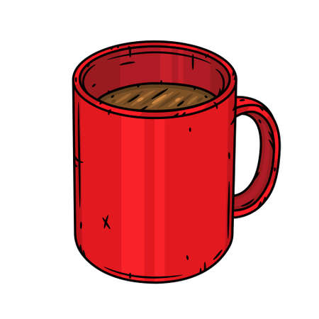 Red mug with tea or coffee isolated on a white background 向量圖像