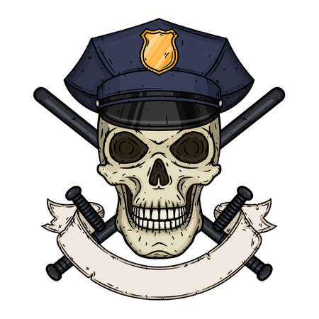 Policeman. Skull in police cap and crossed police baton in hand drawn style.