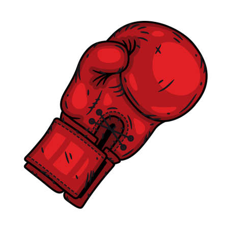 Red Boxing glove isolated on a white background.
