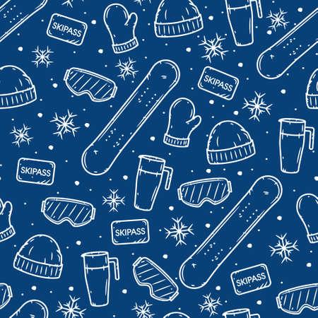 Snowboarding seamless pattern. Winter sport seamless pattern. Extreme sport backdrop.