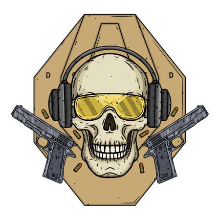 Skull shooter on the background of the target, glasses, headphones and two pistols. 向量圖像
