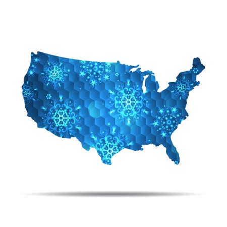 Vector map of USA with snowflakes. Winter illustration for your design.