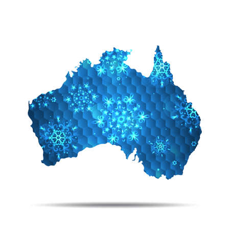 Vector map of Australia with snowflakes. Winter illustration for your design. 版權商用圖片