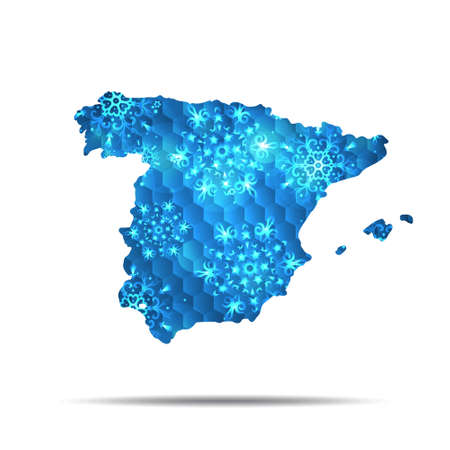 Vector map of Spain with snowflakes. Winter illustration for your design.