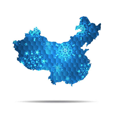 Vector map of China with snowflakes. Winter illustration for your design.