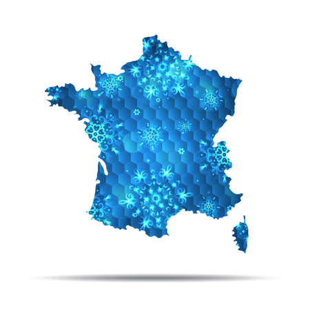 Vector map of France with snowflakes. Winter illustration for your design. 版權商用圖片