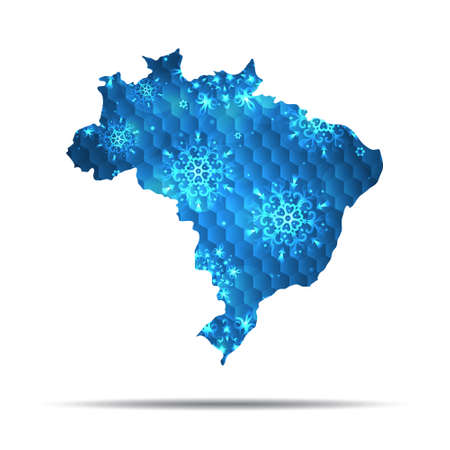 Vector map of Brazil with snowflakes. Winter illustration for your design 版權商用圖片
