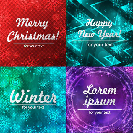 Winter backgrounds set. Winter frame with snowflakes. Christmas Greeting Card. New Year background with space for your text. Winter template. Christmas backdrop. New Year flyer. 向量圖像