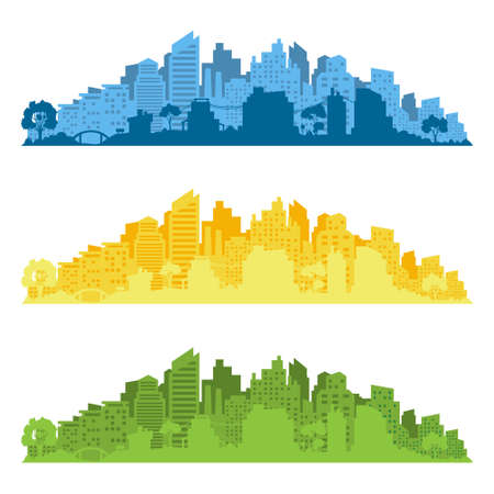 City silhouette with windows. Vector illustration isolated on white background