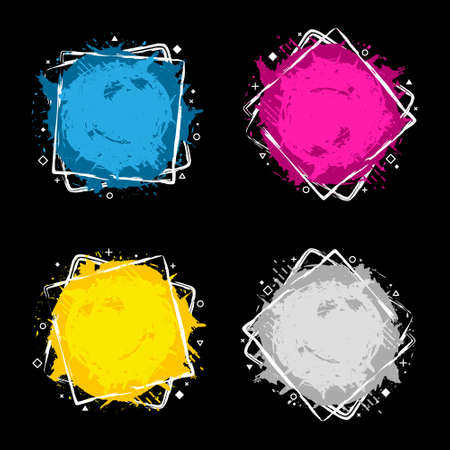 Set of four grunge splash banners. Vector splatter labels with space for text. Grunge label with geometric figures. Paint splash. Vector colorful paint splashes. 向量圖像