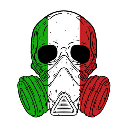 Skull in a protective mask with the flag of Italy.