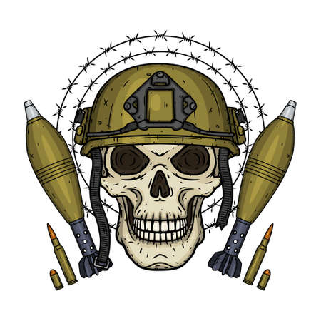 Soldier skull. Skull in helmet with mortar shells, bullets and barbed wire. 向量圖像