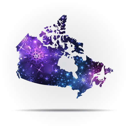 Vector map of Canada with snowflakes. Winter illustration for your design.