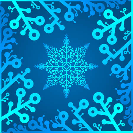 Winter background with space for your text. Christmas Greeting Card. New Year frame with snowflakes. Winter template. Christmas backdrop. New Year flyer