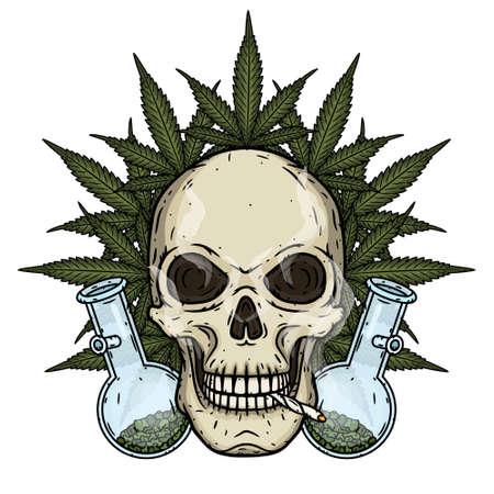 Skull. Skull with bong and marijuana leaves. Rastaman skull with cannabis leafs and spliff.